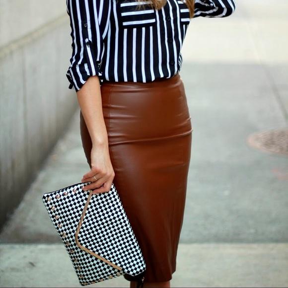 7a558b0c08 Zara Brown Burgundy Midi Pencil Faux Leather Skirt.  M_5acccb96a4c4854ca138945f